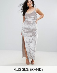 Бархатное платье макси на бретельках Club L Plus - Серебряный