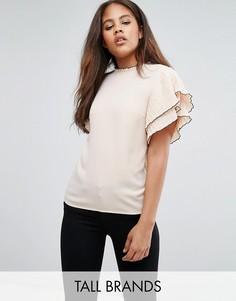 Блузка с высоким воротником и рукавами-оборками Y.A.S Tall - Бежевый