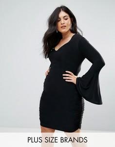 Облегаюющее платье мини с длинными расклешенными рукавами Club L Plus - Черный
