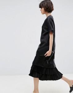 Многослойное платье миди из органзы в горошек ASOS WHITE - Черный