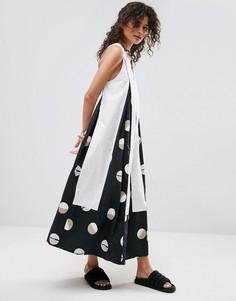 Платье миди с принтом ASOS WHITE - Белый