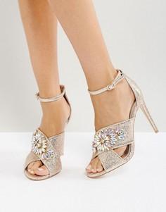 Босоножки на каблуке с отделкой ASOS HOLY GRAIL - Золотой