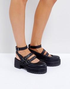 Туфли на массивной плоской платформе с пряжками ASOS OVERLOAD - Черный