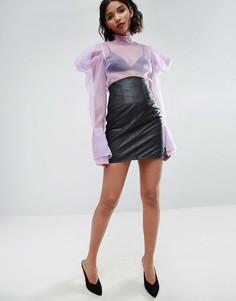 Кожаная мини-юбка с завышенной талией ASOS - Черный