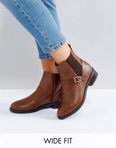 Ботинки челси из кожзаменителя для широкой стопы New Look - Рыжий