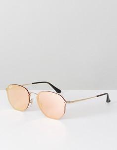 Солнцезащитные очки с шестиугольной оправой и розовыми стеклами Ray Ban - Розовый