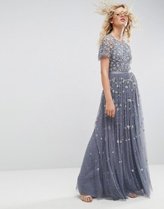 Платье макси с отделкой Needle and Thread - Синий