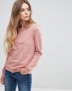 Свитшот с вышивкой Vila - Розовый