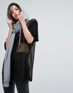 Серый трикотажный шарф с капюшоном Seint - Серый