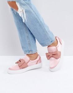 Розовые кеды-слипоны с бантиком Glamorous - Розовый