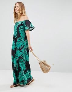 Черный сарафан макси с открытыми плечами и принтом пальмовых листьев ASOS - Мульти