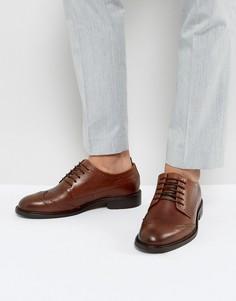 Кожаные броги коньячного цвета Selected Homme Baxter - Коричневый