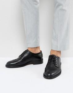 Черные кожаные броги Selected Homme - Черный