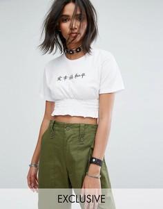 Укороченная футболка со сборками и вышивкой Peace Love And Happiness Milk It Vintage - Белый