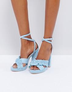 Босоножки на каблуке с оборками Glamorous - Синий