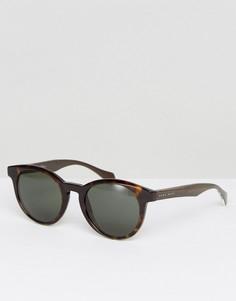 Круглые солнцезащитные очки в черепаховой оправе BOSS By Hugo Boss - Серый