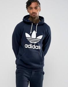 Худи темно-синего цвета с логотипом-трилистником adidas Originals BS4629 - Темно-синий