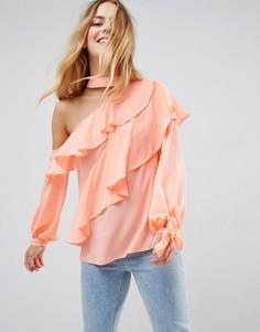 Блузка с оборками и открытым плечом ASOS - Розовый
