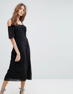 Платье миди с кружевной отделкой и открытыми плечами New Look - Черный