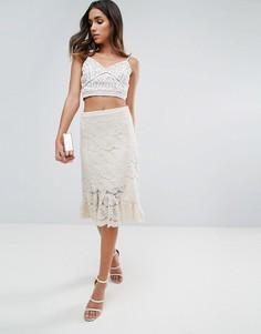 Кружевная юбка-карандаш с оборкой по нижнему краю Amy Lynn - Кремовый