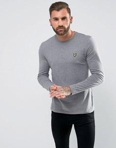 Серая меланжевая футболка с длинными рукавами и логотипом Lyle & Scott - Серый