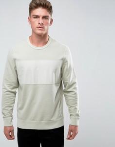 Серо-белый свитшот с круглым вырезом и полоской на груди Abercrombie & Fitch - Белый