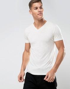Хлопоквая меланжевая футболка с V-образныи вырезом Tom Tailor - Белый