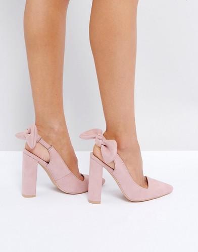 Туфли на каблуке с острым носком и бантиками Public Desire Dover - Розовый