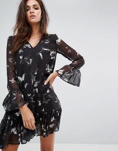 Темное свободное платье с принтом бабочек Religion - Черный
