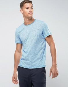 Футболка в тонкую полоску с необработанными краями и карманом Tom Tailor - Синий