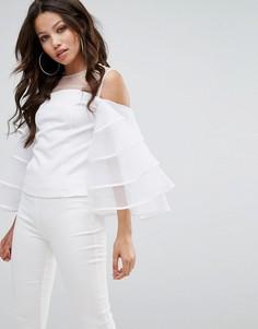 Блузка из органзы с оборками на рукавах и сетчатой вставкой PrettyLittleThing - Белый