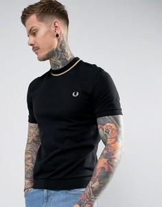 Черная футболка из пике с контрастной отделкой Fred Perry REISSUES - Черный