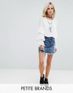 Джинсовая мини-юбка с вышивкой Glamorous Petite - Синий