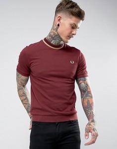 Бордовая футболка из пике с контрастной отделкой Fred Perry REISSUES - Красный