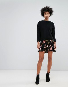 Мини-юбка с цветочным принтом Vero Moda - Черный