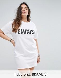 Платье-футболка с принтом Feminist Boohoo Plus - Белый