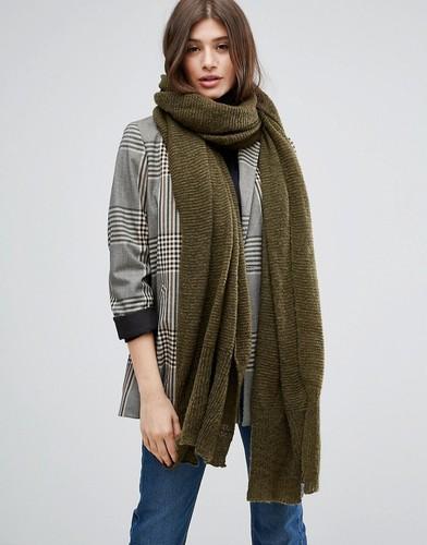 Вязаный длинный оверсайз-шарф ASOS - Зеленый