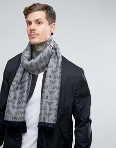 Серый шарф из ткани с добавлением шерсти с логотипом Armani Jeans - Серый