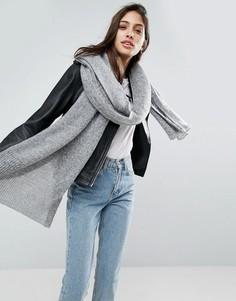 Вязаный длинный оверсайз-шарф ASOS - Серый