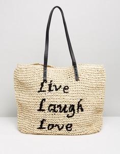 Пляжная соломенная сумка с надписью Live Laugh Love Vincent Pradier - Темно-синий
