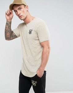 Фактурная облегающая футболка песочного цвета SikSilk - Светло-серый