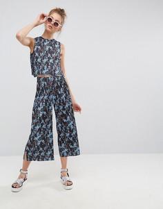 Укороченные плиссированные брюки с цветочным принтом ASOS - Мульти