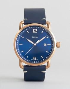 Часы с кожаным ремешком Fossil FS5274 Commuter - Синий