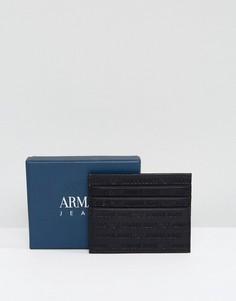 Черная кожаная визитница с тисненым логотипом Armani Jeans - Черный