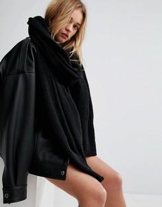 Вязаный длинный оверсайз-шарф ASOS - Черный