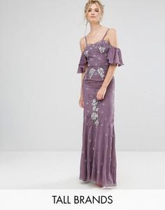 Платье макси с открытыми плечами и отделкой Maya Tall - Фиолетовый