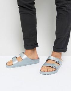 Серебристые сандалии с эффектом металлик Birkenstock Arizona Eva - Серебряный