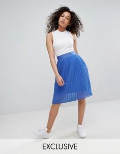 Плиссированная юбка миди из шифона adidas Originals - Синий