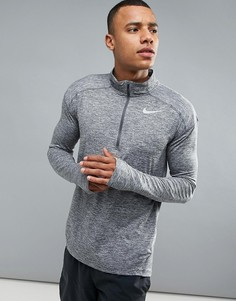 Серый свитшот с горловиной на молнии Nike Running 857820-021 - Серый