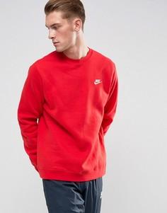 Красный свитшот с круглым вырезом и логотипом-галочкой Nike Club 804340-657 - Красный